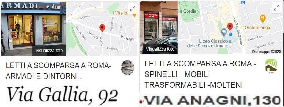 LETTI A SCOMPARSA ROMA-VIA GALLIA 92-VIA ANAGNI